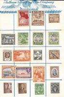 WW MINT STAMP COLLECTION ON FATHAM STAMP AND COIN APPROVAL SHEET, 12 COUNTRIES