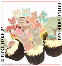 Woodland deer owl squirrel stand up Edible Cupcake Toppers Cake decorations x18