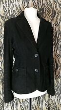 H&M Black Corduroy Semi Fitted Jacket Pockets US 12 UK 14 Smart Casual