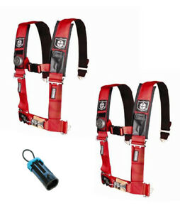 """PRO ARMOR 4 Point Harness 3"""" Pads Seat Belts W/ BYPASS RED RZR XP Turbo 1000 900"""