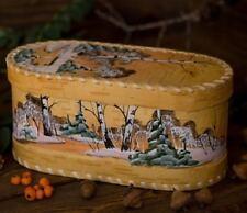 Hand Painted Wooden Birch Bark Kitchen Storage, Bread Box, Made in Russia