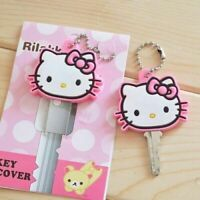 Hello Kitty Key Silicone Cap Cover Ring Keychain Case Animals Head Cute Pink