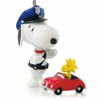 Officer Snoopy 2014 Hallmark Ornament  #17 PEANUTS GANG Woodstock Red Car