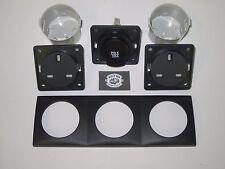 Genuine Berker 240v &12V Triple Socket kit, inc frame and contact box Anthracite