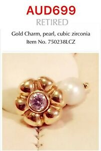 Pandora Retired Rare 14k Yellow Gold Pearl Charm With CZ, 750238LCZ