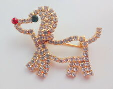 Vintage Retro 60s Cute Puppy Dog Gold Metal  Rhinstones Pin Brooch Hard to find