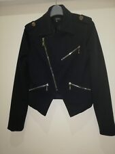 QUALITY Ladies MILITARY STYLE Navy blue Jacket medium Size Used Good Condition