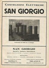 Y0907 Trasformatori in montaggio San Giorgio - Pubblicità 1928 - Advertising