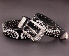 Black Western Leather Belt Bling Crystal Diamond Studded Fashion waistband