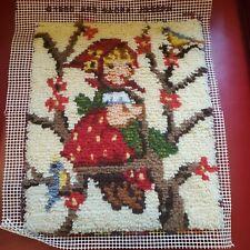vtg Hummel * APPLE TREE GIRL * completed LATCH HOOK * 1980s Paragon needlecraft