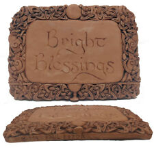 """BRIGHT BLESSINGS"" WICCA CELTIC WALL PLAQUE WOOD FINISH 'DRYAD DESIGNS' DECOR"