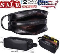 Leather Toiletry Bag Men Shaving Accessory Travel Organizer Lady Supply Dopp Kit
