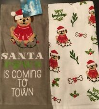 NEW Set Of 2 Holiday Puppy Dog Red Lights Christmas Kitchen Dish Hand Tea Towels