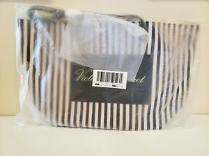 NEW Victoria's Secret Black And Pink Striped Signature Weekender Tote Bag