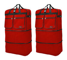 "Pack of 2, 40"" Red Wheeled Duffel Bags Large Rolling Spinner Suitcase Luggage"