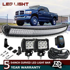 "For 02-08 Dodge Ram 1500 Upper Roof 54"" Curved LED Light Bar Combo+4"" Pods Cube"