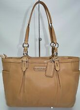 Coach East West Pleated Leather Gallery Tote In Camel 15147