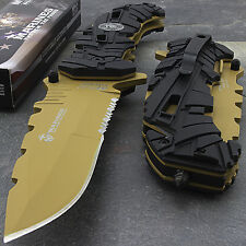 "9"" USMC MTECH USA MARINES TAN SPRING ASSISTED TACTICAL FOLDING POCKET KNIFE"