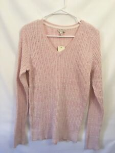 NWT Sonoma VNeck Pullover Cable Knit Sweater Long Sleeve Size Large Pink B2