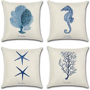 Marine Nautical Pillow Case Cushion Cover Ocean Sea Life Waist Throw Sofa Decor