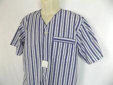 Hanes Classic Blue & White Striped Pajama Men's Sleepwear V Neck Nightshirt Sz S
