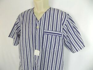 Hanes Classic Blue & White Striped Pajama Men's Sleepwear V Neck Nightshirt Sz S