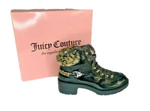 Juicy Couture Womens Indulgence Black Leopard Faux Fur Boots Lace Up Size 9 NIB