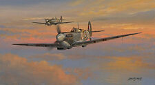 Spitfire print Fleeting Moments signed by 6 RAF (inc 4 Battle of Britain) pilots