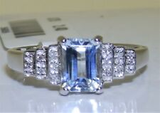 9CT BAGUETTE 0.8CT AQUAMARINE DIAMOND RING  ART DECO 9 CARAT WHITE GOLD CLUSTER