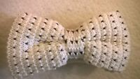 Bow Tie, Cream ivory funky trendy vintage wool knitted style. Bowtie, NEW