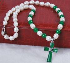Natural 7-8mm White Akoya Pearl/Green Jade Cross pendant(25X35MM) necklace