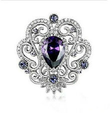 Luxury Vintage Amethyst Purple Zircon Corsage Bridal Wedding Brooch Pin BR178