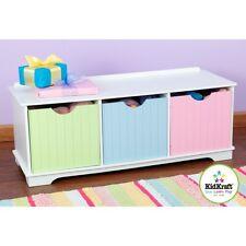 Kidkraft Nantucket Storage Bench Pastel, Childrens Toy Bedroom Organizer