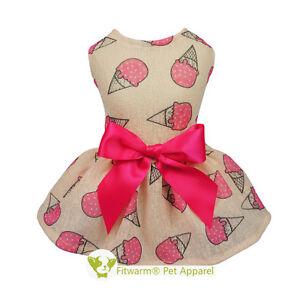 Fitwarm Pink Ice-Cream Dog Dress Shirt Summer Pet Clothes Vest Cat Apparel S M L