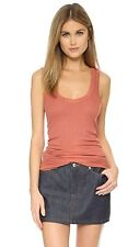 ENZA COSTA BOLD RIBBED TERRACOTTA TANK TOP SMALL