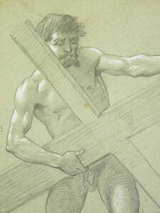 LIVACHE (1872-1944) The Christ Carrying Sa Cross Jesus Drawing Charcoal And