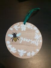 Bee Yourself Wooden Plaque Sign Gift Cute Bumblebee Wooden Flowers Motivation...