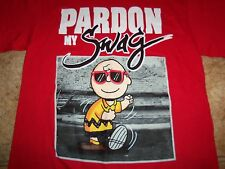 """Peanuts Charlie Brown """"Pardon My Swag"""" Funny Humor Red Graphic T Shirt - S"""