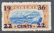 2304 LIBERIA 1936, Provisional Definitive 22 Cents on 1 $ MISPRINT/VARIETY/ERROR