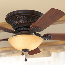 "Old World Bronze 52"" Ceiling Fan 3-Speed Pull Chain Bowl Light Tuscan Fixture"