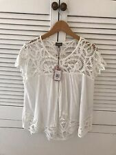 BRAND NEW PHASE EIGHT Ambroise White Lace Summer Top Blouse Size L 16 18 BNWT