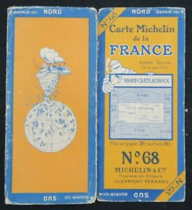 Carte MICHELIN 68 NIORT CHATEAUROUX 1925 entoilée Guide Bibendum pneu tyre map