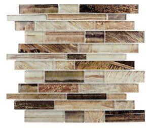 Contemporary Linear Brown Glass Mosaic Tile Backsplash Kitchen Wall MTO0207