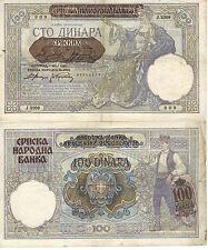 NAZI GERMANY 100 DINARA SERBIA OCCUPATION 1941 BANK NOTE CURRENCY SS WWII WW2