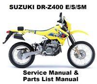SUZUKI DR-Z400 E/S/SM - Owners Workshop Service Repair Parts Manual PDF on CD-R