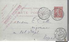 ENTIER  POSTAL  CARTE POSTALE TYPE SEMEUSE 1905 ST LOUP S SEMOUSE