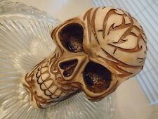 Tribal Human Skull Statue Carved Hand Painted Poly Resin Figurine 5 X 5 x 4 Inch