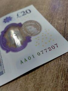 TWENTY POUND NOTE -  AA01 077207 - VERY Low Prefix Rare £20 Superb Condition