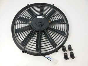 """NEW BLACK 16"""" HIGH PERFORMANCE REVERSIBLE ELECTRIC COOLING FAN STRAIGHT BLADE"""