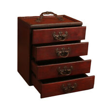 Antique Jewelry Wood Box Storage Display Chest Ring Necklace Organizer Cabinet